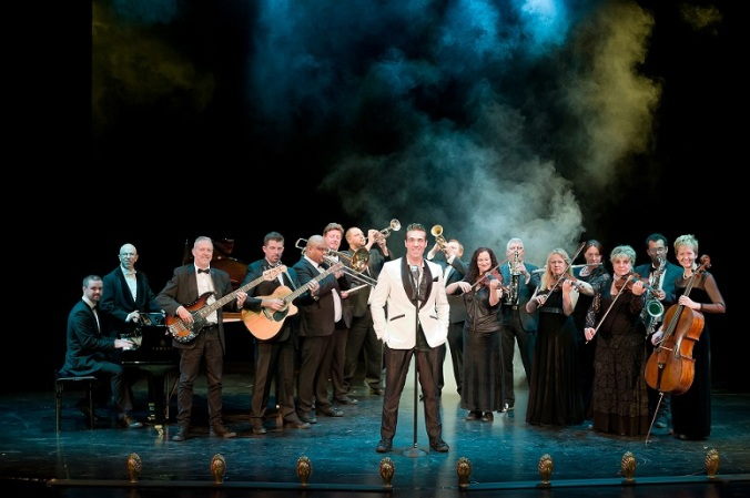 "Jonathan Roxmouth and 18-piece band in ""From the Footlights"" (Photo: Shaun Smith)."